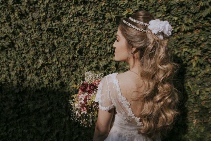 Penteado noiva cabelo ondulado