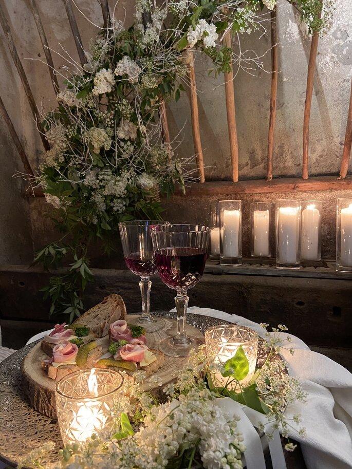 Décoration rustique chic pour un banquet de mariage en montagne