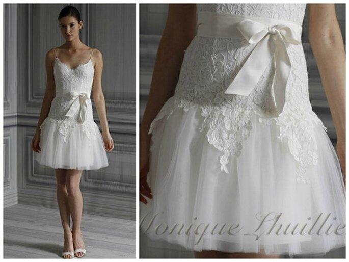 Vestido corto para novia por Monique Lhuillier 2012