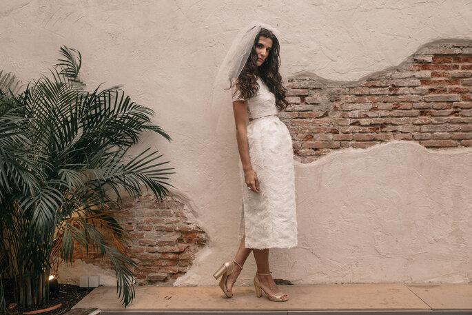 falda y crop top de novia