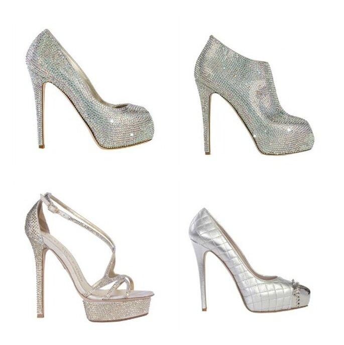 Quattro proposte glitter in color silver firmate Le Silla. Foto: www.lesilla.it
