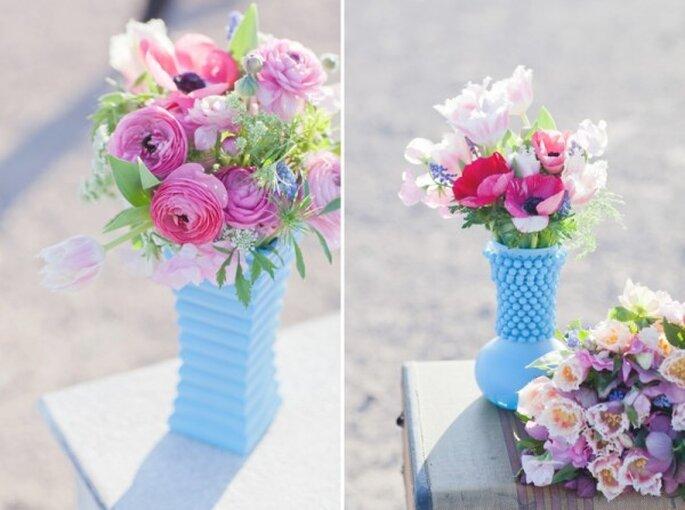 Acentos de azul en la decoración de tu boda - Foto Laura Ann Miller Photography