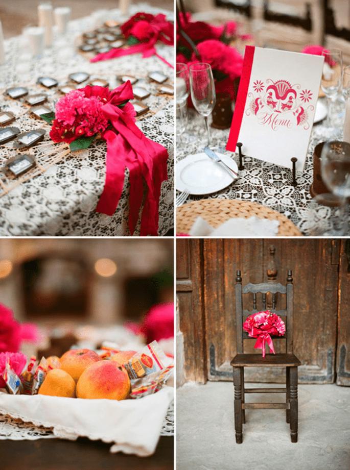 Decoración de boda en color rosa mexicano - Foto Aaron Delesie