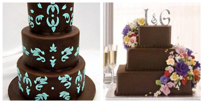 Hochzeitstorten in Braun mit bunten Dekoelementen bzw. Blumen. Foto rechts: fiesta101.com