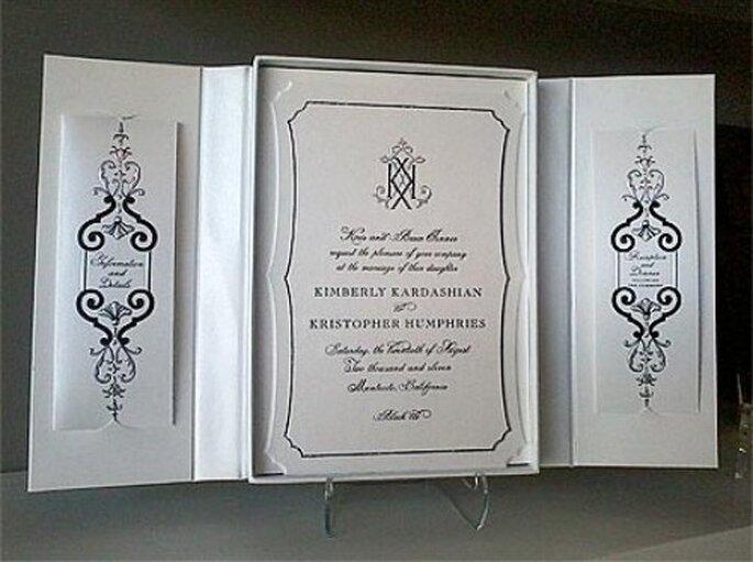 Invitación para la boda de Kim Kardashian