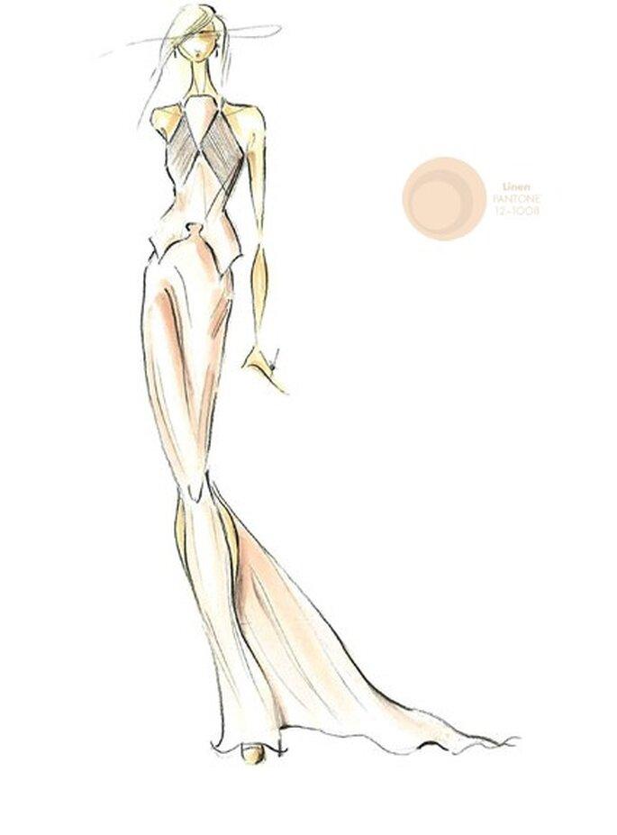 Couleur: Lin. Illustration: Pamella Roland, pour Pamela DeVos. Photo: Pantone