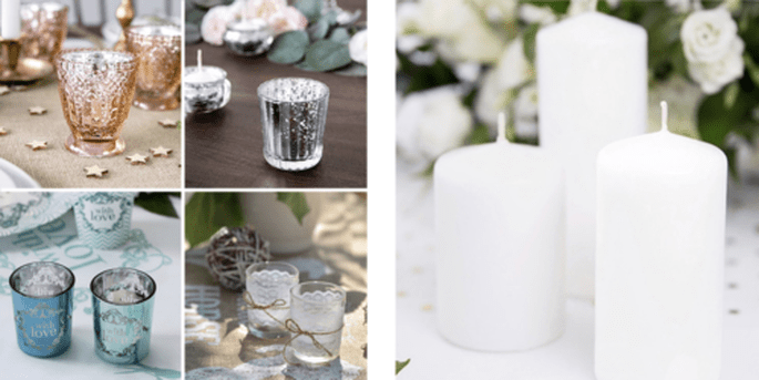 Bougeoirs et Bougies décoratives blanches 6 pièces