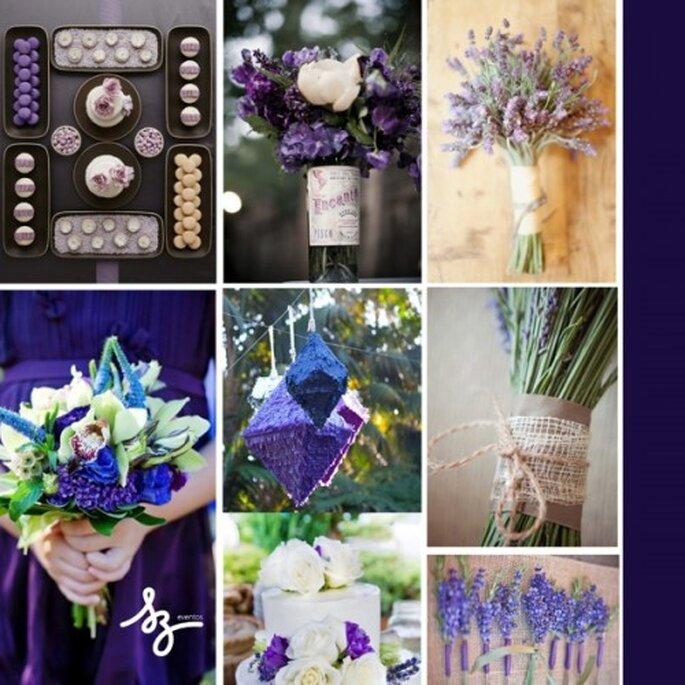 Collage de inspiración para decorar tu boda con el color violeta - Foto Style Me Pretty y Sbchic.com