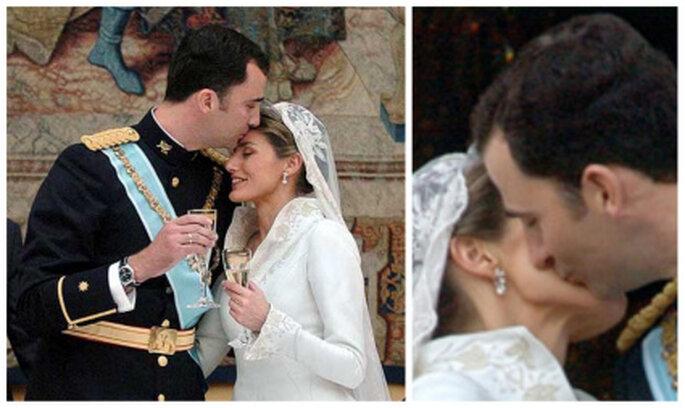 Besos de la boda real de Felipe de España y Letizia, príncipes de Asturias