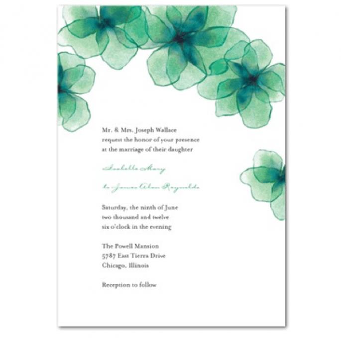 Invitación de boda con flores en color verde esmeralda y azul - Foto Wedding Paper Divas