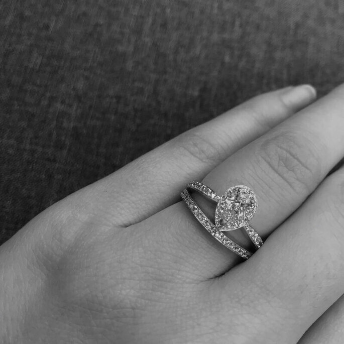 Bague de mariage sertie de diamants pour femme, style vintage