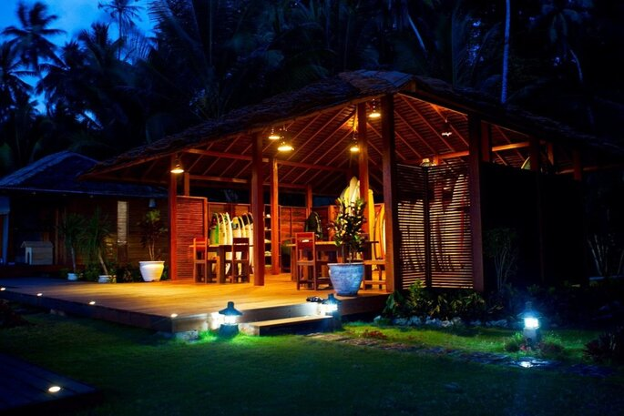 Telo Island Lodge Board Shack Night