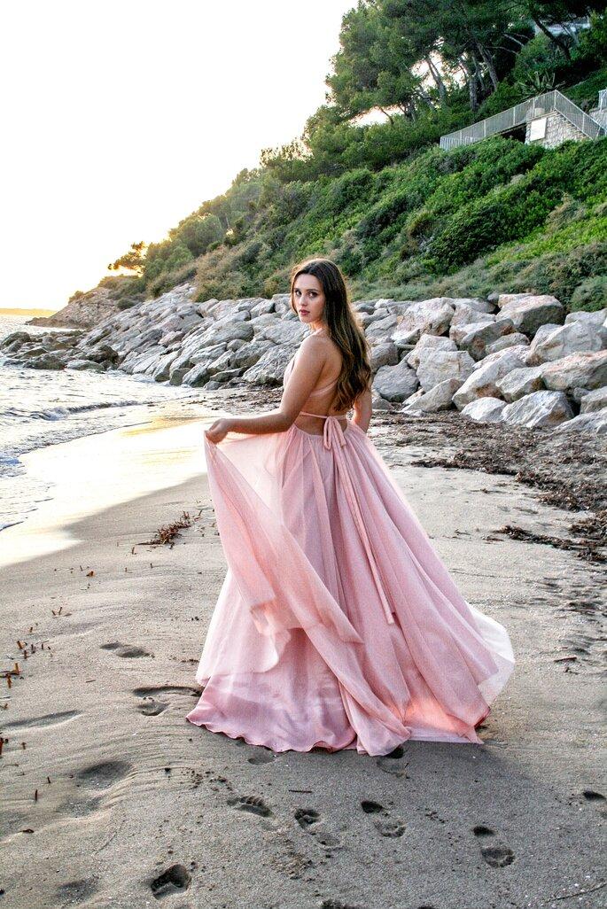 vestido largo rosa palo