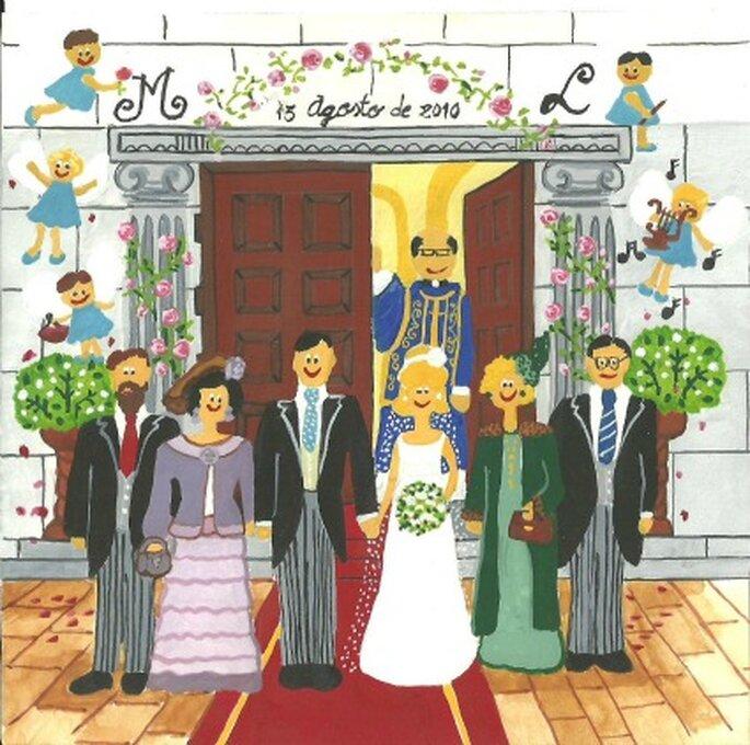 Un dibujo ideal para ilustrar las invitaciones de tu boda o las tarjetas de agradecimiento - Tu cuadro naif