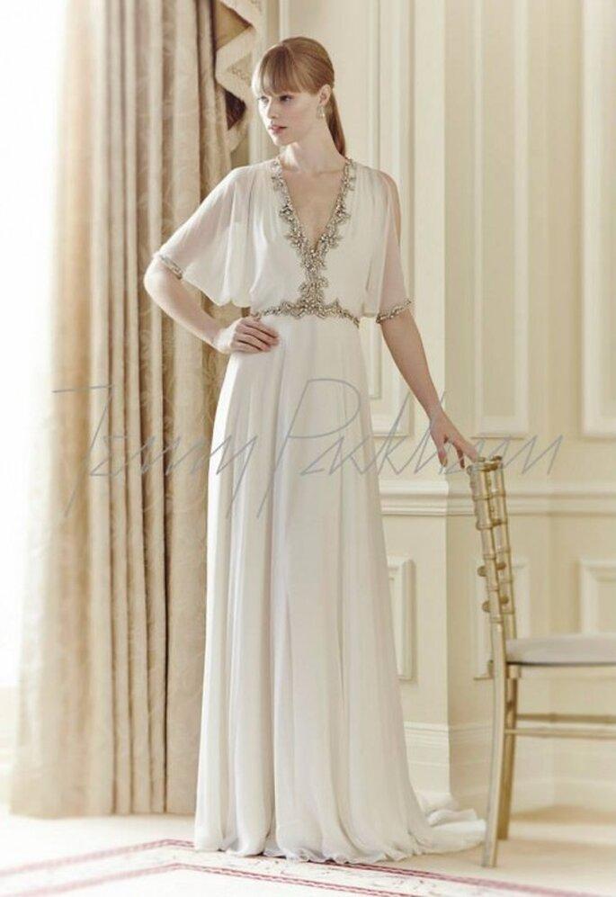 Vestido de novia con estilo boho, silueta holgada y mangas con volumen - Foto Jenny Packham