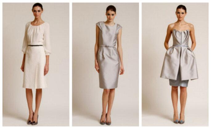 Linee sobrie e pulite per 3 abiti corti della Collezione 2012 di Carolina Herrera