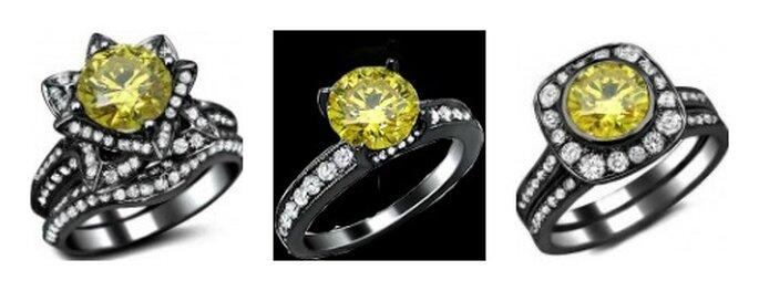 Diamante giallo montato su anello in oro nero...il massimo dell'unicità! Foto: Front Jewelers