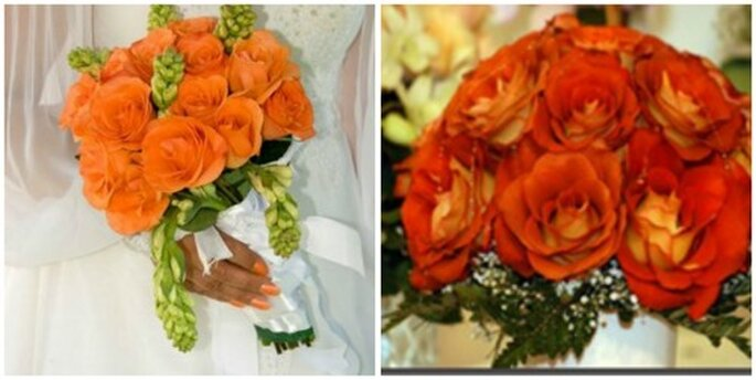 Dos llamativos ramos de novia naranja, perfectos para Halloween