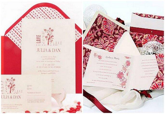 Invitaciones para boda en rojo y blanco de Azul Sahara. Fotos: www.azulsahara.com