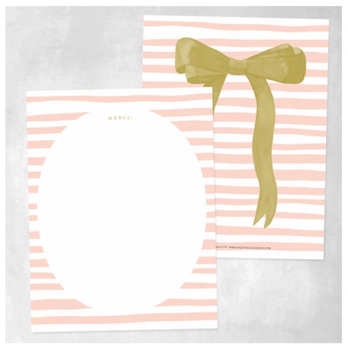 Tarjetas de agradecimiento con moños en color dorado - Foto Smitten on Paper