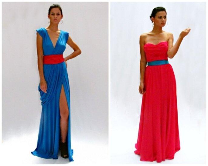Vestido azul de lycra y vestido rosa de gasa, largos y drapeados, diseños de MIPA