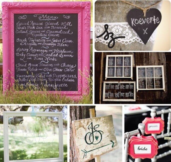 Collage de inspiración para crear un pizarrón para tu boda. Frostmeblog, Rusticweddingchic, Revertphoto