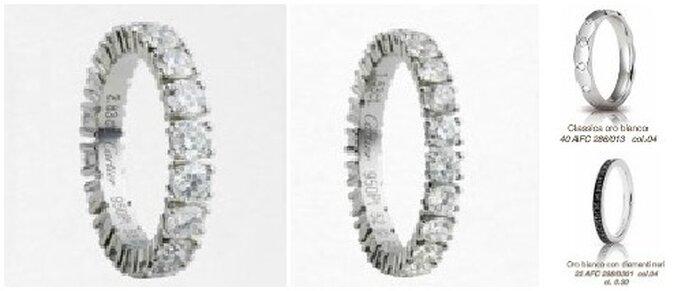 In primo piano due fedi in platino e diamanti di Cartier. A seguire due proposte di Unoaerre tra le quali una con diamanti neri.