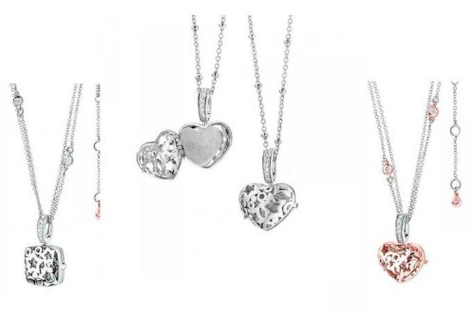 Segreto: forme preziose in argento e diamanti che racchiudono una piastrina da incidere a piacere. Foto www.comete.it