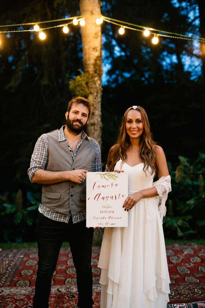 Noivos casamento ao ar livre