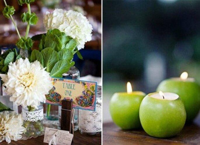 Fleurs disposées dans des bocaux recyclés et photophores en forme de pomme. - Copyright : Jolis Mariages