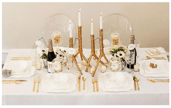 Decoración de mesas de boda inspirada en la Navidad - Foto Suzanne Hansen Photography