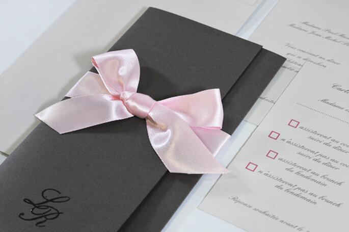 Faire-part de mariage billet couleur taupe rose & grège 2013 pour l'Art du Papier - Crédit photo : l'Art du Papier