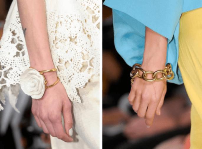 Brazaletes anchos para complementar outfit de invitada de boda - Foto Oscar de la Renta y Diane Von Furstenberg