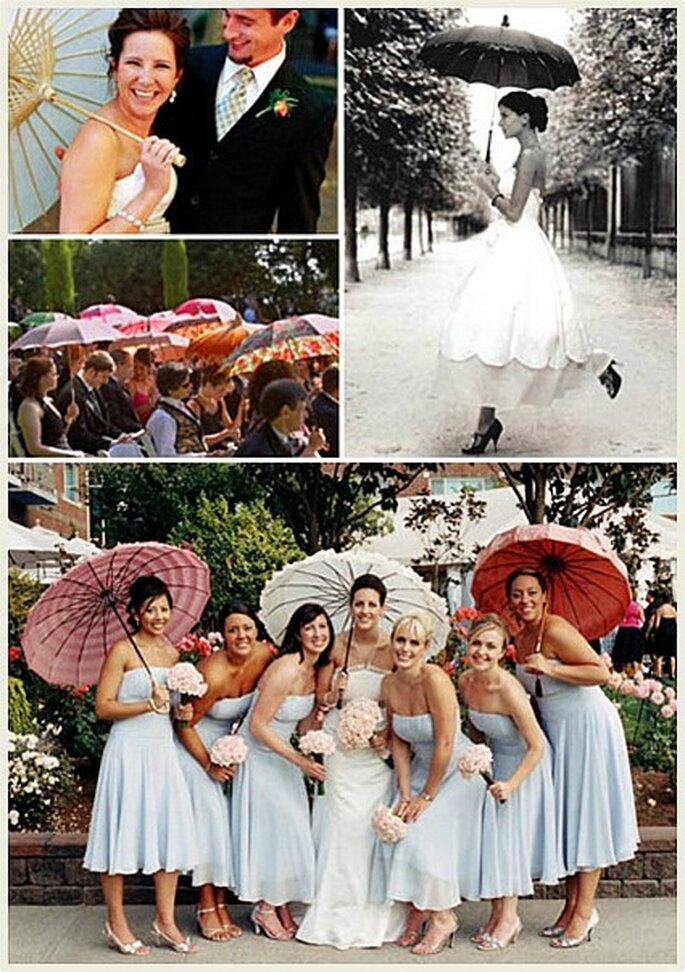 Las sombrillas de papel que se entregan durante la boda hay que dejarlas como obsequio para los invitados.