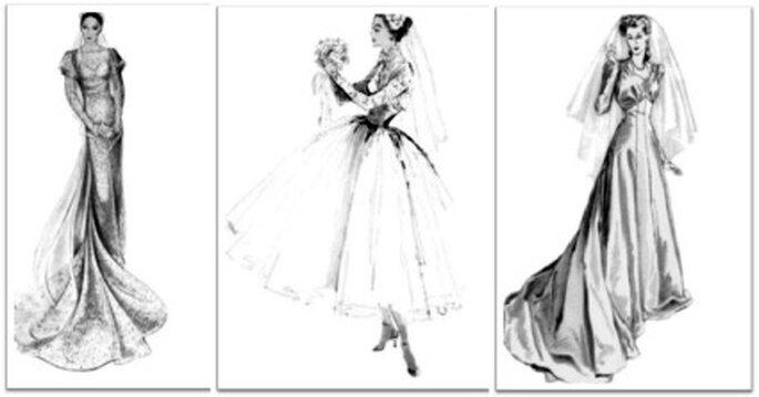 Croquis de robes de mariée des années 20 - Source : www.zankyou.com/it