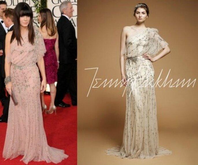 A sinistra,l'attrice Sandra Bullock indossa una creazione di Jenny Packham. A destra la stessa creazione in versione abito da sposa