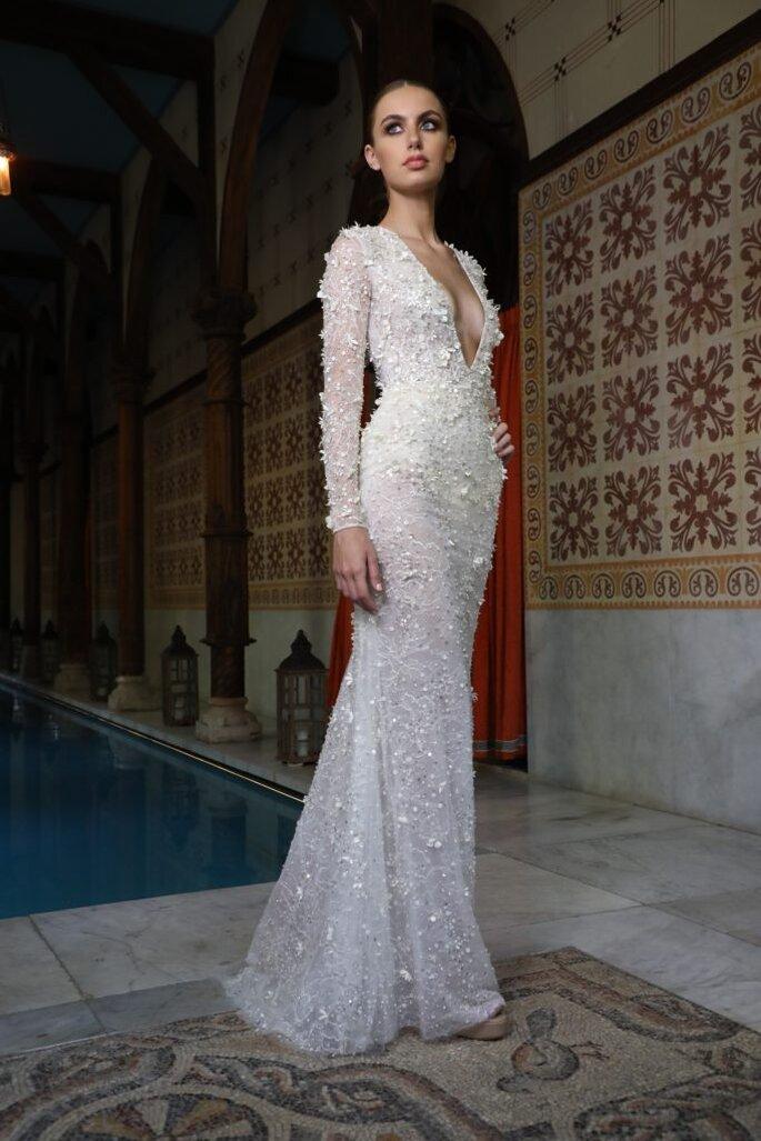 Robe de mariée sirène avec des manches