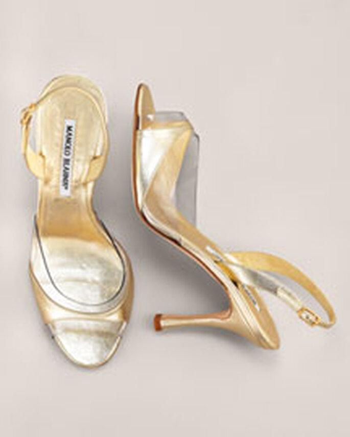 Sandalia en dorado y plata de Manolo Blahnik