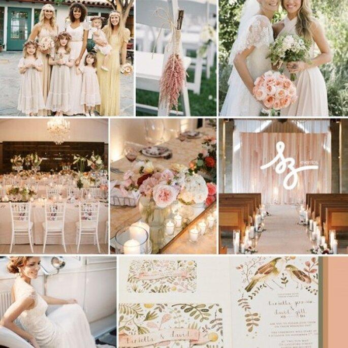 Collage de inspiración para una boda dulce como el verano - Fotos: dustjacketattic.blogspot.com.au, weddingconcepts.co.za, maemaepaperie.blogspot.mx, lovekatieandsarah.com - Diseño de Raisa Torres para SZ Eventos