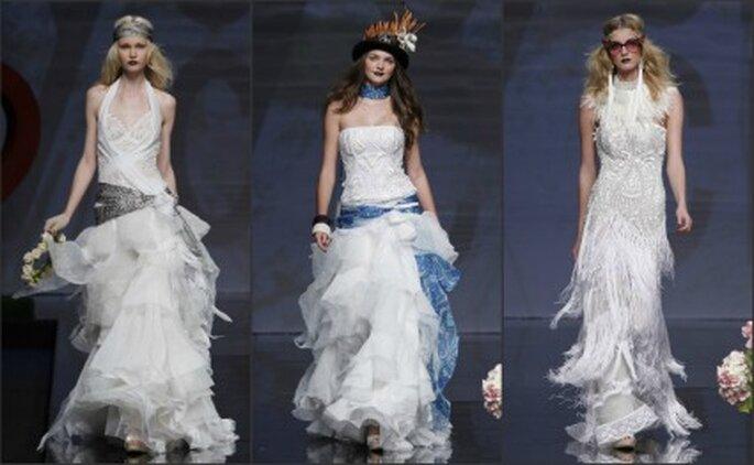El ganchillo es el protagonista en los vestidos de novia Yolan Cris 2012 - Ugo Camera / Barcelona Bridal Week