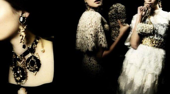 Bijoux d'inspiration baroque pour un mariage au printemps - Photo Dolce & Gabbana