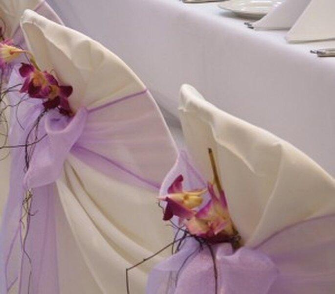 Decoración de boda en colores como el lila