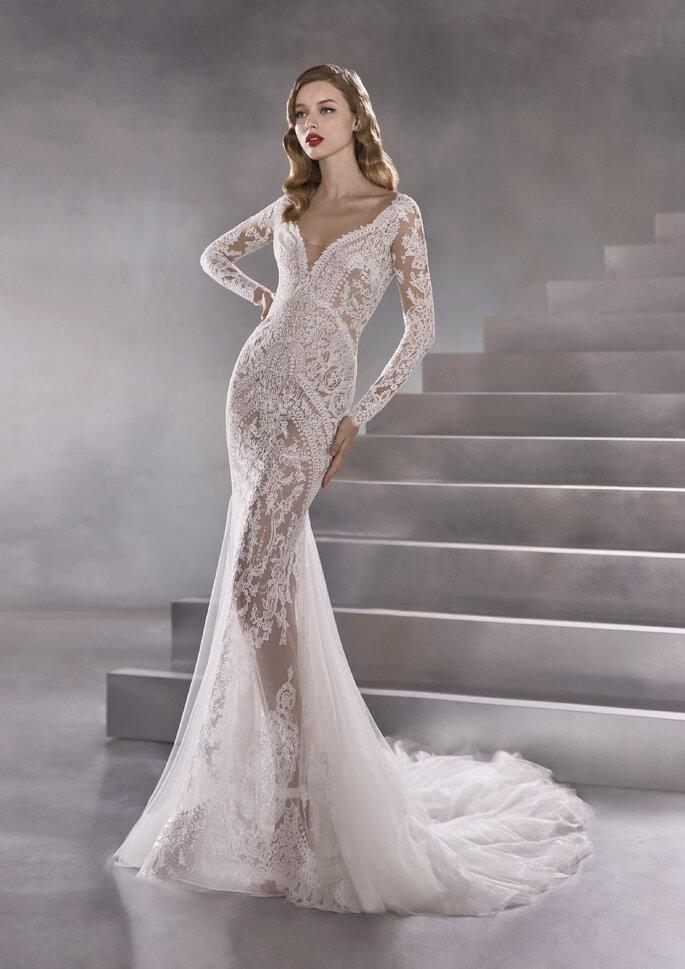 Vestido de novia sirena con transparencias