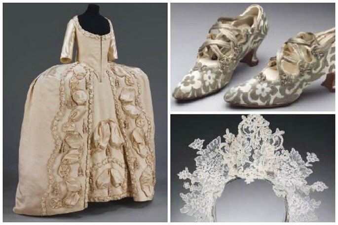 Vestido de novia de 1775, zapatos de 1914 y tocado de 2008. Foto: The Wedding Dress.