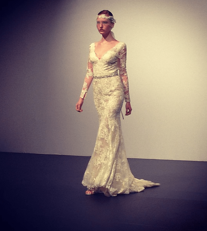 Robe de mariée en dentelle Lusan Mandongus 2014. Photo via instagram