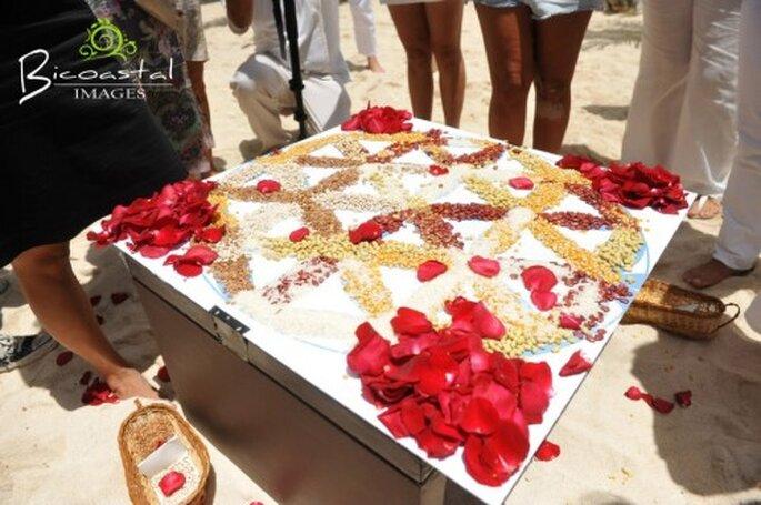 Boda espiritual con ceremonia del mándala. Foto Bicoastal