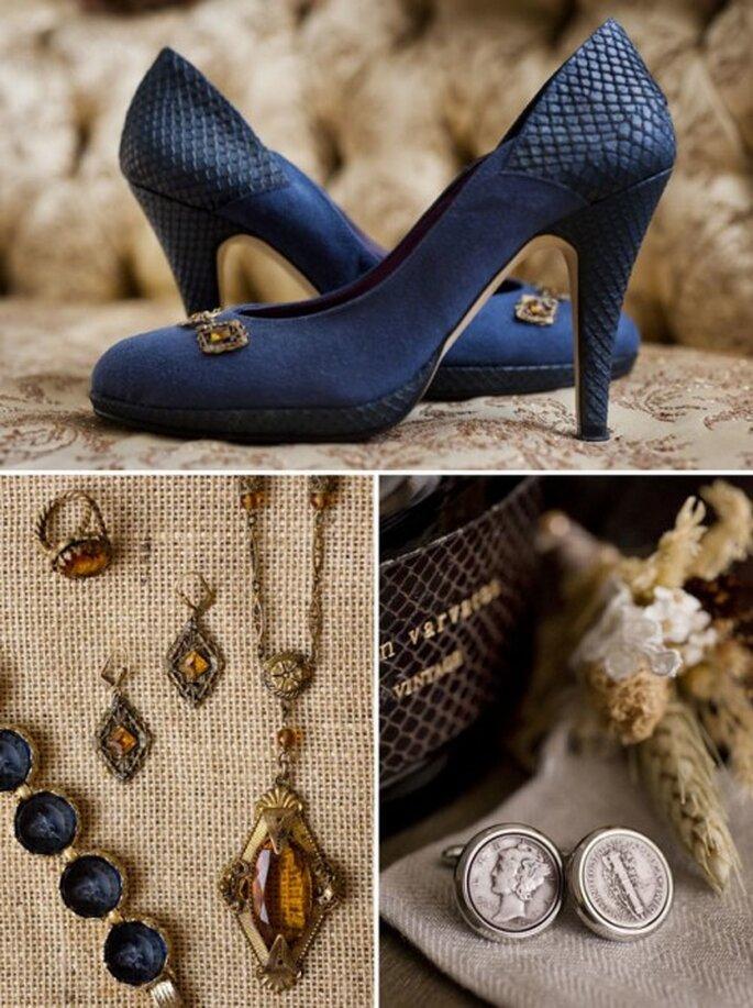 Los más lindos detalles de boda en color azul - Fotos: Green Wedding Shoes