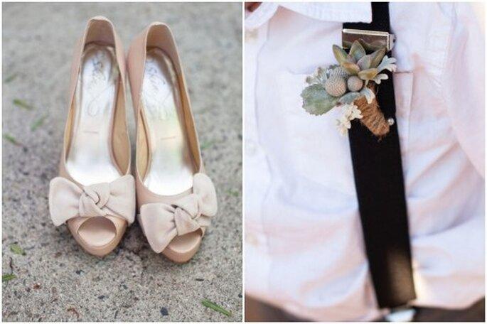 Boutonniere y zapatos de la novia en color nude - Foto Kaysha Weiner Photography
