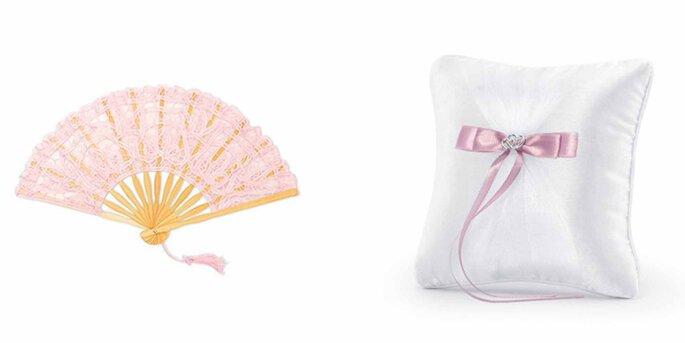 Abanico de encaje rosa