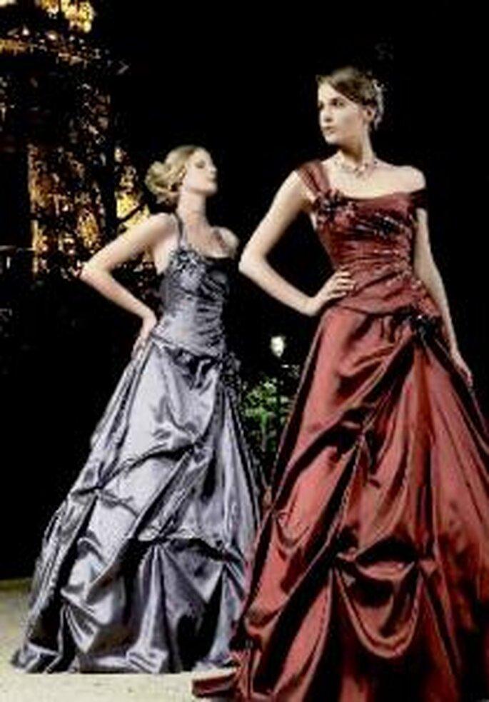Miss Paris 2009 - Cézanne - Robe longue en satin, coupe princesse, jupe drapée et bustier détaillé